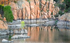 DON'T LET IT BE FORGOT THAT ONCE THERE WAS A SPOT (Irene2727) Tags: rock rockformation water reflections ducks birds landscape scape pano panorama nature fauna