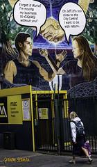 COLOURFUL MURAL... (BABAYAGA321) Tags: belfast victoriasquare streetphotography graffiti streetart clocktower murals dirtyonion guinness salvadoredali johnpeel stenaline langanriver ferry stannescathedral spireofhope