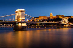 Chain bridge - Budapest (Sandy Sharples) Tags: budapest hungary bridge river danube europe longexposure bluehour history castle city skyline nightscape landmark cityscape travel