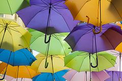Colorful Umbrella's in Beziers (Jan van der Wolf) Tags: map158572ve umbrella paraplu parasol colors colours colorful pattern herhaling repetition kleuren kleurrijk