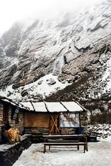 Dream Lodge (wwophoto) Tags: nepal himalayas annapurna annapurnasanctuary annapurnabasecamp bagar trek trekking guesthouse village deurali mountain snow canoneos1000fn film