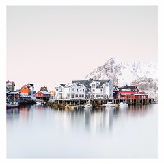 In town (Artery-Crea) Tags: norway colours canon longexposure boat moutains water lofoten snow winter city town houses reflexion fineartphotography