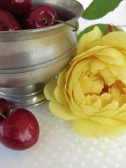 Still life with Teasing Georgia (Poppins' Garden) Tags: rose yellow teasinggeorgia austin stillife cherry pewter