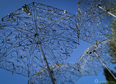 Heart Umbrellas (PiscesDreamer) Tags: loveintherain lovelocks brucevoice sculpture art love queenelizabethpark vancouver britishcolumbia canada umbrella couple