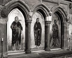 The Icons - St Patrick, St David & St Andrew.... (AJFpicturestore) Tags: stdavids cathedral theicons sarahcrisp saints monochrome pembrokeshire wales