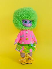 Mod Dress Spam! (Helena / Funny Bunny) Tags: funnybunny solidbackground emeraldwitch vintage doll 1972 custom drblythenstein yarnhead dorotealimezing