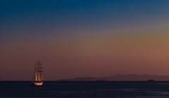 sailing away.. (ckollias) Tags: beautyinnature day horizonoverwater mast nature nauticalvessel nopeople outdoors sailboat sailing sailingaway sailingboat sailingship scenics sea silhouette sky sunset tallship tranquility transportation traveldestinations water