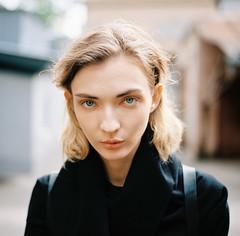 Olga. (vladimir_romansky) Tags: film medium format kodak girl portrait push bokeh people indoor outdoor depth field hasselblad 500cm 6x6 porta400