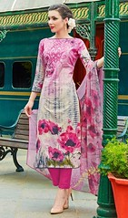 Pink and Cream Color Shade Cotton Pant Style Suit
