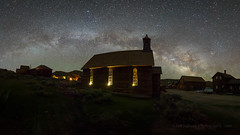 Bodie Church Night Panorama (Jeffrey Sullivan) Tags: methodist church bodie state historic park bodiestatehistoricpark abandoned american wild west mining ghost town monocounty bridgeport california usa landscape nature night photography canon eos 6d photo copyright 2017 jeffsullivan june allrightsreserved