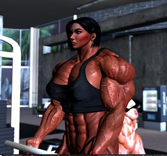 Working out my biceps (Ms Soul) Tags: muscle muscular muscularwoman workout exercising abs strength fitness