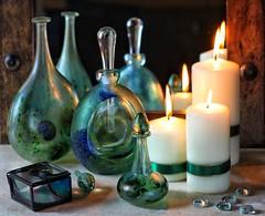 Reflections (memoryweaver) Tags: memoryweaver stilllife woodframe ribbon candles reflection mirror janecharles siddylangley art glass studio studioglass artglass