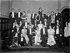 Beagle Ball group, flashlight photo taken at townhall (National Library of Ireland on The Commons) Tags: ahpoole arthurhenripoole glassnegative nationallibraryofireland huntball beaglesball eveningdress tuxedos ballgowns mayorsoffice menandwomen flash waterford beagleball ball gowns townhall poolephotographiccollection