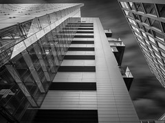 Skyline Mono (Camera_Shy.) Tags: manchester mono monochrome bw black white architecture structure building glass modern contrast long exposure light dark nikon d810 city cityscape urban skyline mancheter uk