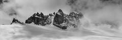Rise From The Glacier (Julien Stalder) Tags: switzerland valais trient champexlac aiguillesdorées glacier snow rock mountain altitude high clouds pano panorama monochrome leica elmarit