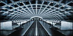 USA - Washington DC - Metro v2 (Darrell Godliman) Tags: usawashingtondcmetrov2 metro underground washington washingtondc america usa unitedstates symmetry symmetrical flipped flipping architecture building station panoramic panorama widescreen