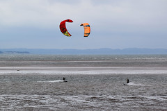 Kite surfing 9 (Lord Edam) Tags: sea coast coastline beach river sand rocks llandudno conwy clouds waves mountains groyne kite surfing kitesurfing actionsports