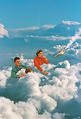 lhtd (woodcum) Tags: sky clouds retro vintage color grain surreal man woman couple plane airplane crush burn fire falling catastrophe disaster bed book looking collage woodcum