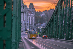 Liberty bridge (Vagelis Pikoulas) Tags: tram liberty bridge sunset canon 6d tamron 70200mm street road travel november 2016 autumn city cityscape hungary europe