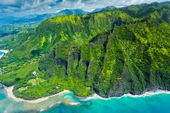 Ke'e Beach, Kauai (Garden Isle Images) Tags: kauainorthshore kauai hawaii helicopter landscape seascape arial tropical