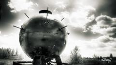Mine_mono (dougkuony) Tags: freedompark mine explosive bomb omaha mono monochrome bw blackandwhite hdr