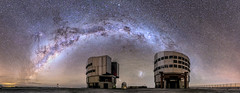 The Milky Way at Paranal Observatory (Juan-Carlos Munoz-Mateos) Tags: milkyway astronomy astrophotography telescope verylargetelescope observatory paranal vlt night nightscape nightphotography longexposure chile desert atacama stars sky magellanicclouds panorama space galaxy
