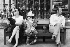 Day 186. Lego friends. (Rob Emes) Tags: street urban city london girl reading magazine three family trio people bench g7xii canon bw white black mono 3652017 365 jul2017