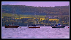 Three In a Row (Rollingstone1) Tags: boats yachts sea clyde peninsula rosneath moorings hills sky clouds outdoors nature flora colour art artwork gareloch argyleandbute holidayhomes houses 56thparallel maritime marine forest trees evergreens water westofscotland