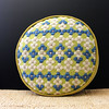 Round. (Kultur*) Tags: vintage vintagedecor pillow throw decor retrodecor needlepoint embroidered 1970s colorful green embroidery roundpillow floral