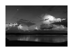 Moon Over Jordan Lake, Chatham County, NC (Joe Franklin Photography) Tags: almostanything blackandwhite bw moon lake clouds duotone monotone evening northcarolina jordanlake nc joefranklin wwwjoefranklinphotographycom