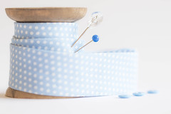 28/52: Out of the blue [Explored] (judi may...mostly off for a while) Tags: 52weekchallenge blue biasbinding spool pins buttons highkey stilllife tabletopphotography depthoffield dof bokeh whitebackground white spotty blueandwhite canon7d softness soft pretty delicate wood woodenspool