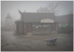 Closed on Mondays (Hugh Stanton) Tags: wheel barrow mine shaft head shop