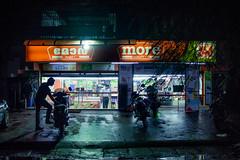 Parked (itsabmatt) Tags: nikon d3200 35mm kerala night aluva india incredible green blue parking led fluorescent