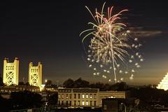 Rivercats Fireworks 7-3 3 (dcnelson1898) Tags: sacramento sacramentocounty sacramentorivercats oldtown california longexposure nightphotography night urban city fireworks nikond810 towerbridge centralvalley northerncalifornia
