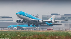 KLM 747-400 rocketing out of humid Amsterdam for Curacao (Nicky Boogaard) Tags: boeing airbus aviation dmaviation aircanada klmcityhopper aa americanairlines kalittaair deltaairlines 787 dreamliner easyjet a319 747 freigther 747400 777200 77w 7878 7879 embrear e175 jetairways united keniaairways