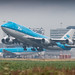 KLM 747-400 rocketing out of humid Amsterdam for Curacao