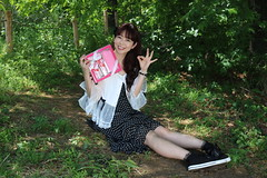 Adorest In The Forest (emotiroi auranaut) Tags: woman lady girl lovely fetching attractive beauty beautiful charm charming cute adorable woods forest park sit sitting smile smiling pink makeup kit hygiene towel fresh dress skirt shoes sweet polkadots
