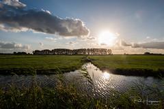 Mijdrecht evening of Jul 12th, 2017 (1) (PaulHoo) Tags: mijdrecht polder fuji fujifilm x70 sun evening sky clouds summer green wideangle grassland farmland water reflection landscape