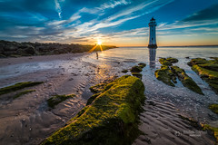 Low tide (tbnate) Tags: mersey merseyside seaside sea water reflection rocks sand beach lighthouse sunset sun clouds sky seascape landscape outdoor outside nikon nikond750 d750 14mm samyang samyang14mm ultrawideangle ultrawide lowtide tbnate architecture nature newbrighton river