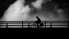 Riding in Clouds (Ross Major) Tags: bike riding bridge clouds bw olympus victoria australia san remo