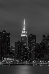 Empire State (pmobiled) Tags: empirestatebuilding nyc newyork manhattan building city skyscraper cityscape river architecture bw blackandwhite monochrome tiltshift longexposure