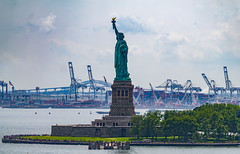 Lady Liberty (jason.betzner) Tags: statueofliberty ladyliberty libertyisland newyork nyc newjersey harbor cranes water clouds sky cruise summer canon rebelt3 eos outside outdoors