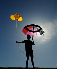 It All Works Out In The End (disgruntledbaker1) Tags: balloons umbrella seethrough colorful beautiful sun silhouette