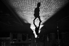 urban fishing (maekke) Tags: zürich morning highcontrast man silhouette shadow fisherman fisher 35mm fujifilm x100t urban switzerland ch streetphotography 2017 shadows bw noiretblanc