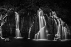 Hraunfossar Black and White (Russell Eck) Tags: hraunfossar iceland russell eck project odyssey travel nature landscape water river waterfall long exposure longexposure black white blackandwhite monochrome 10 stop neutral density filter polarizer