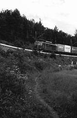 Train incoming (Joakim H. Johnsen) Tags: train black white bw norway cargo