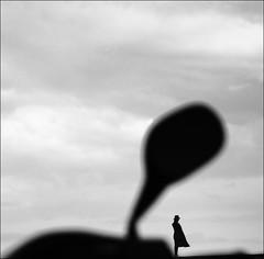 F_47A0616-1-BW-Canon 5DIII-Tamron 28-300mm-May Lee 廖藹淳 (May-margy) Tags: maymargy bw portrait silhouette cloudy windy motorcycle rearmirror streetviewphotographytaiwan linesformandlightandshadow mylensandmyimagination naturalcoincidencethrumylens blur bokeh humaningeometry penghucounty taiwan repofchina f47a06161bw clouds canon5diii tamron28300mm maylee