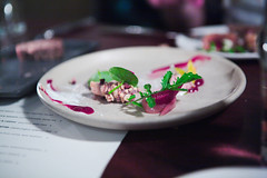 pretty plate at the Alembic (n.a.) Tags: sanfrancisco san fran francisco sf california usa food pink green white plate cheese onion dandelion watercress gastropub haight alembic