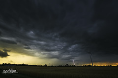 Dramatic End to the Day (wilbias) Tags: ontario canada field sky landscape sunset nature wind rain summer evening dark lightning countryside storm rural dramatic outdoors dusk county essex turbines cottam