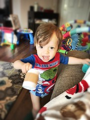Coffee and Avengers PJs. See the resemblance? #likefatherlikeson #trainupachild (nathanwj) Tags: likefatherlikeson trainupachild